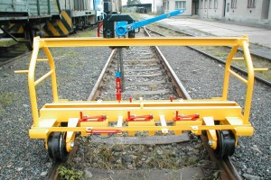 "Rails manipulation unit SMK - Small gantry crane RKJ 750p is a successor of the original gantry crane designed for lifting, transportation and removal and laying of rails ZPK - 56 (""MAMATEJ"")."